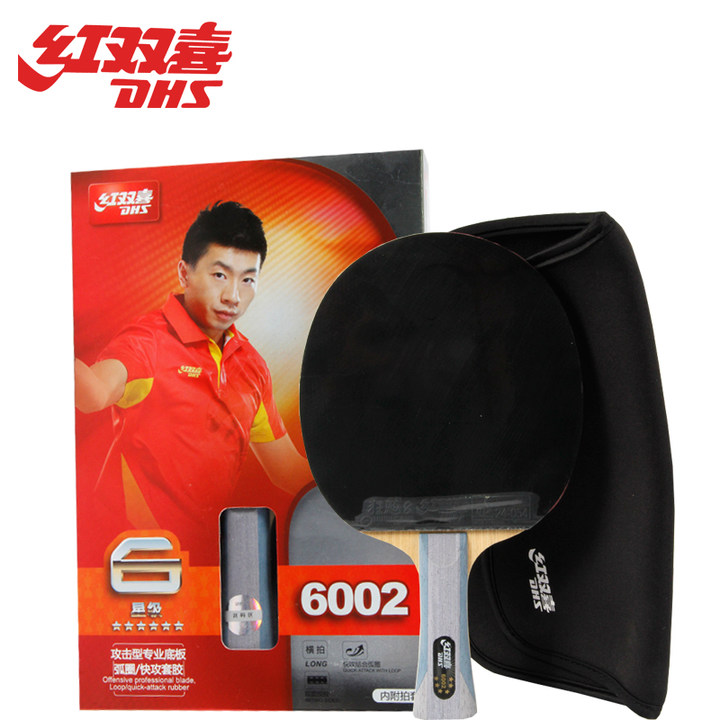 DHS Original 6 Star Table Tennis Racket 6002 6006 with Rubber Hurricane 8 Tinarc Bag Set