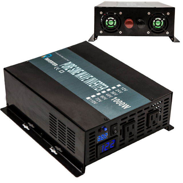 2000W Peak LED Display 12V/24V 120V DC to AC Converter Off Grid Pure Sine Wave Inverter 1000W Solar Power Inverter/Home Inverter