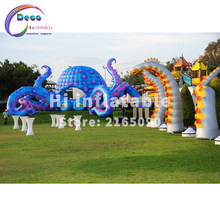 8 m (W) * 3 m (H) * 2.5 m (D) stage event decoratie opblaasbare tentakel opblaasbare octopus DJ booth tent zonder blower zonder led(China)