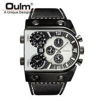 Oulm брендовые уникальные дизайнерские военные часы с 3 часовыми поясами Мужские кварцевые наручные часы с кожаным ремешком Мужские спортивн...