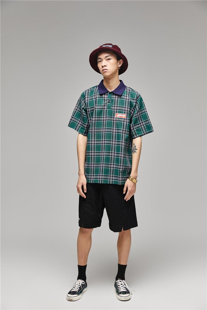Hong Kong style literary   polo   shirt loose patch neutral men and women ins shirt summer Harajuku Japanese turn down collar Tee