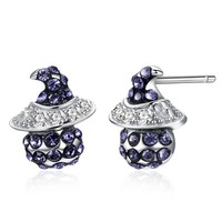 INALIS 2018 Retro S925 Sterling Silver Crystals from Swarovski Witch Retro Crystal Stud Earrings Earrings Halloween Earrings