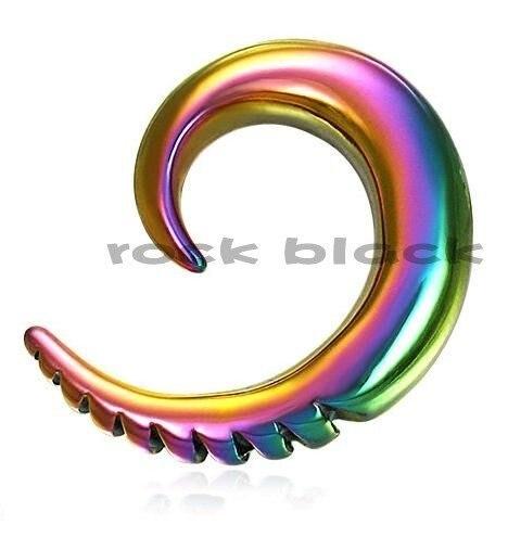 Anodized rainbow horn ear expander tribal plug ear taper flesh tunnel jewelry mixing size body jewelry JCHE