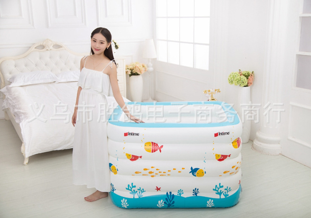 New born Baby Portable bath tub kid Inflatable Thickening Swimming ocean ball pool child bathtub 5 Layers 143x105x80cm-in Pool & Accessories from ...