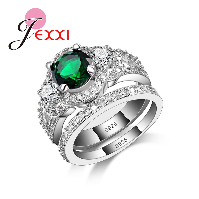JEXXI Top Quality New Style Fashion Jewerly Green CZ 925 Sterling Silver Wedding Bridal Rings Set For Women