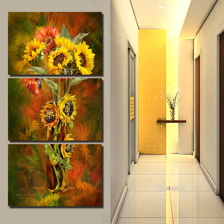 2017 New Hot 3 Panels Yellow Flowers Painting Canvas Wall Art ...