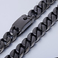 17mm Heavy Black Gold Tone Curb Link 316L Stainless Steel Necklace Fashion Boys Mens Chain Wholesale Customized Jewelry LHN77