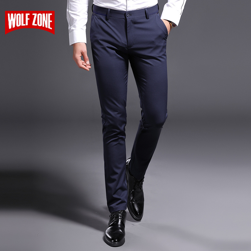 2018 New Summer Brand Casual Cotton Pants Men Mid Waist Silm Pant Mens Fashion Classic Business Straight Leg Stretch Trousers