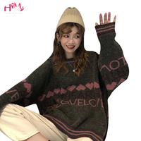 Autumn Winter Women Sweater Korean Fashion Long Sleeved Knitted Sweater Pullovers Christmas Love Heart Letters Printed Sweaters