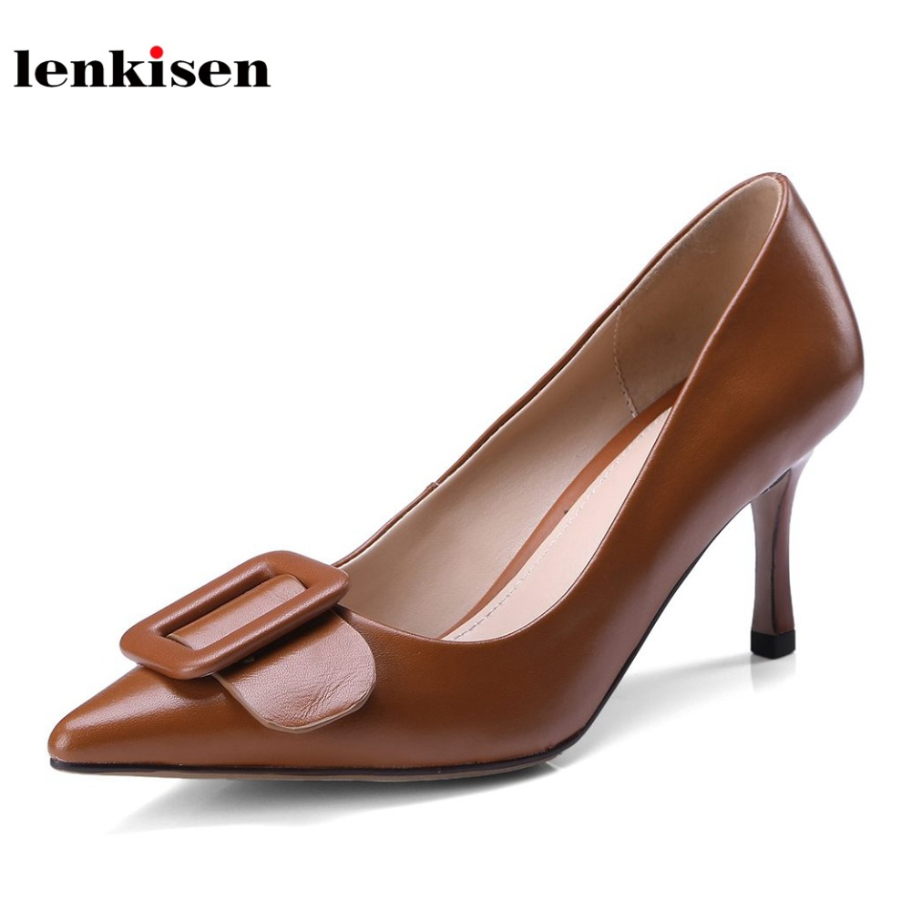 Lenkisen streetwear genuine leather shopping office classic women sandals pointed toe buckle decoration luxury summer shoes L38Lenkisen streetwear genuine leather shopping office classic women sandals pointed toe buckle decoration luxury summer shoes L38