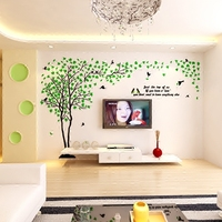 Hot Sale Tree And Bird 3D Wall Stickers Large Wall Decals For Living Room Background Home Art Decor Acrylic Crystal Stickers