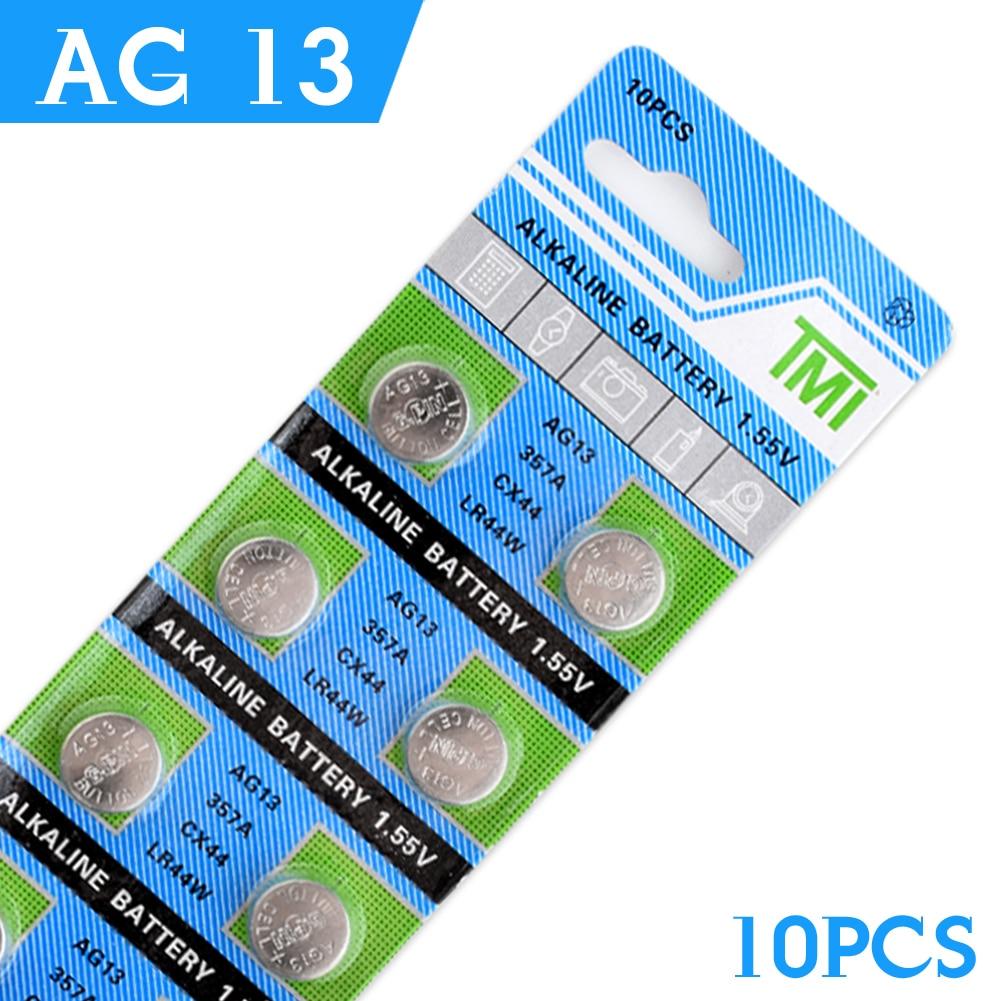 цена на Cheap NEW Real Power Button Battery 10 Pcs AG13 LR44 357A S76E G13 Button Coin Cell Battery Batteries 1.55V Alkaline EE6214