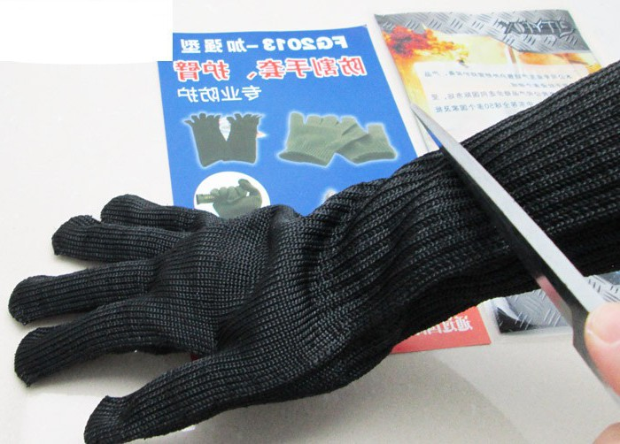 Long steel reinforced anti-cut gloves genuine five steel protective equipment gloves with anti- cut armband