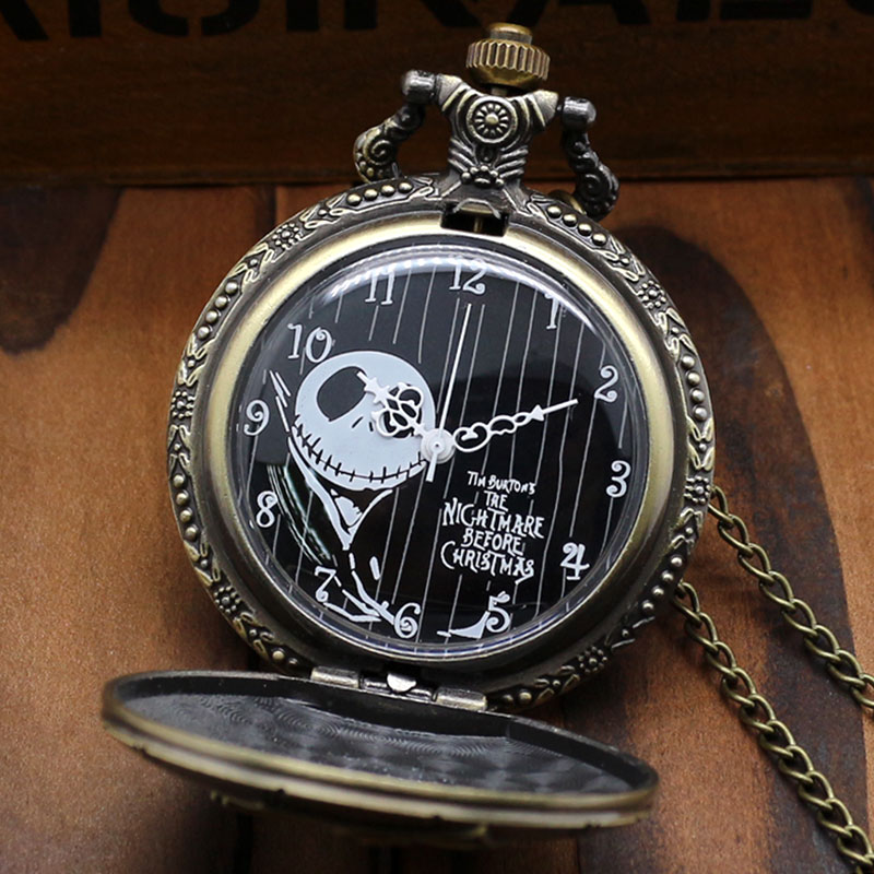 Bronze The Nightmare Before Christmas Coffin Quartz Pocket Fob Watch Chain Necklace Jack Skellington Le Cauchemar Avant Noel