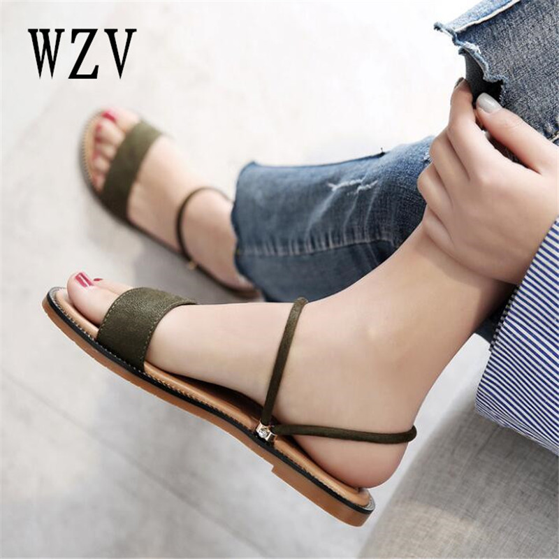 2018 Women flat Sandals Beach shoes female Bohemian sandals Summer flat simple holiday beach shoes B351 free shipping candy color women garden shoes breathable women beach shoes hsa21