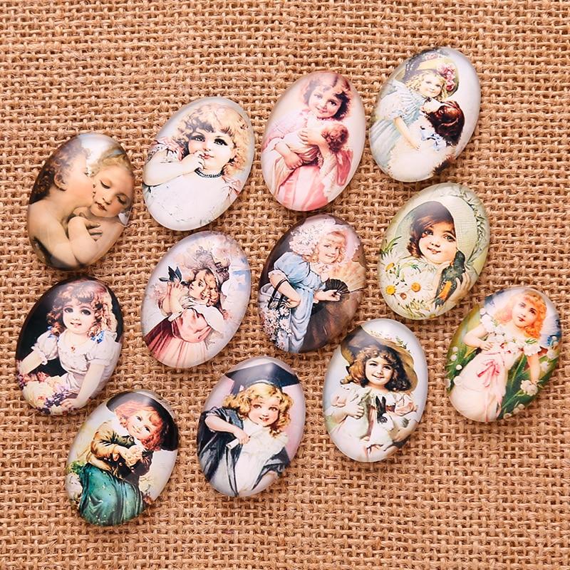 20pcs Vintage Little Girl Photo Glass Cabochon 18*25mm Mixed Oval flatback handmade cameo for pendants цена