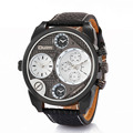 2017 OULM Brand Multi-Function Dual Movt Quartz Wrist Watch With 25mm Width Leather Watchband for Male Clock 5 Decorate Plate