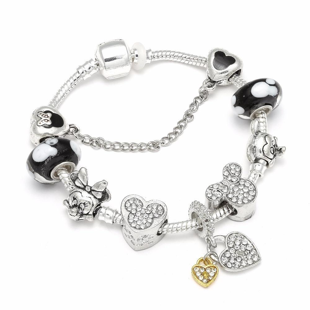 High Quality European Style Mickey Charm Bracelets & Bangle Original DIY Minnie Brand Bracelet for Children Jewelry пандора браслет с шармами