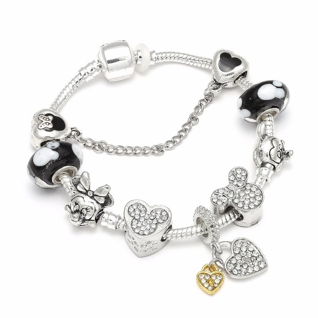 a0b3d2d91d5c5 US $3.39 21% OFF|High Quality European Style Mickey Mouse Charm Bracelets &  Bangle Original DIY Minnie Brand Bracelet for Children Jewelry-in Charm ...
