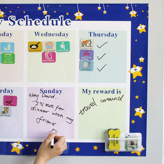 Online Shop Magnetic Chores Chart Dry Erase Board Wall Sticker Kids