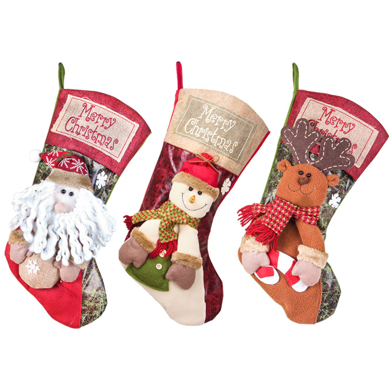 2018 Big Stockings Christmas Decorations For Home Party Santa Claus/Snowman/Deer Sock Gift Xmas Tree Decorations
