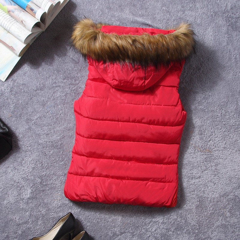 down vest with fur 0W0125 red-1