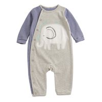 Spring Newborn Baby Stripe Romper Elephant Animal Pattern Baby Boy Clothes Soft Cotton Baby Costume Top
