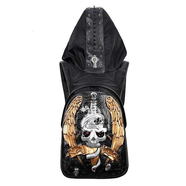 2018 Fashion Personality 3D skull knife sword leather backpack rivets skull backpack with Hood cap apparel Double bag hiphop man image