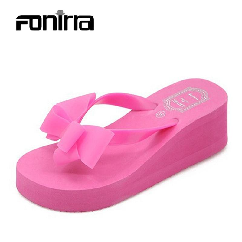 2017 Women Sandals Shoes Sapato Feminino Bownot Wedge Flip Flops Fashion Beach Women Slipper Shoes Sandalias