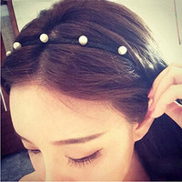 Korea Korean Hair Jewelry New Hand Wound Pressure Pearl Hair Bands Hair Ring Free Home Delivery