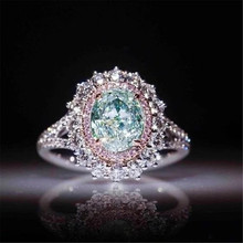 Selling new pink crystal rings with green Topaz jewelry(China)