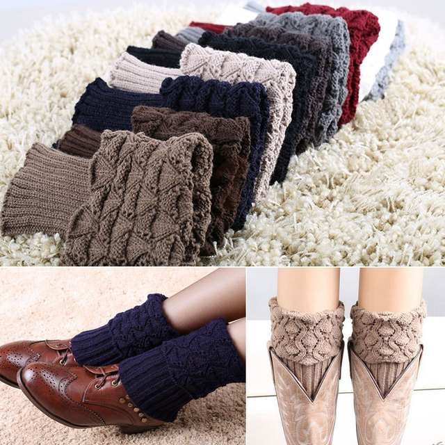 Hot Fashion New Women Ladies Crochet Knitted Shell Boot Cuffs