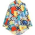 Женщины blusa 2016 новый дизайн плюс размер повседневная шифон блузка женщина негабаритных длинным рукавом симпатичные печати рубашка мода дамы макси топ
