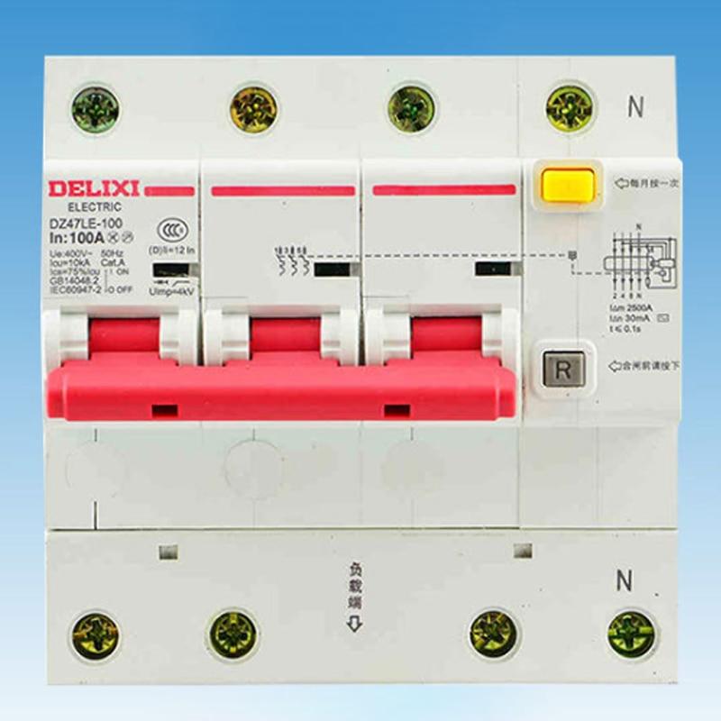 Miniature Circuit Breaker Air Switch DZ47LE-125 3P+N DELIXI MCB 3Pole +N D Curvers 63A-125A 63A 80A 100A 125A 50a 3p n rcbo rcd circuit breaker de47le delixi