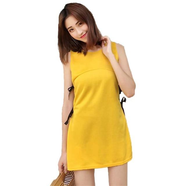 Elegant Side Bow Bandage Work Midi Dress Patchwork Solid Color Sleeveless Office Dresses Online Clothing