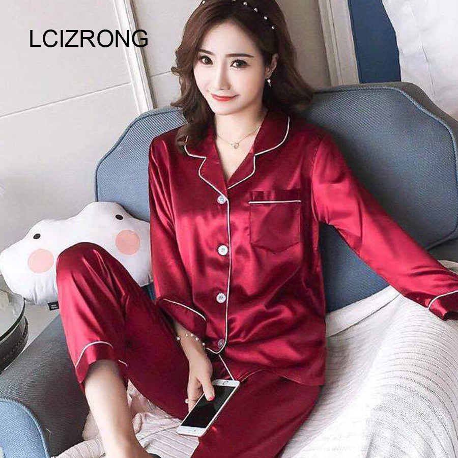 Spring Satin Long Sleeve   Pajamas     Sets   Women Solid Turn-down Collar Shirt + Pants Home Clothes 5XL Large Size Lady Slim Sleepwear