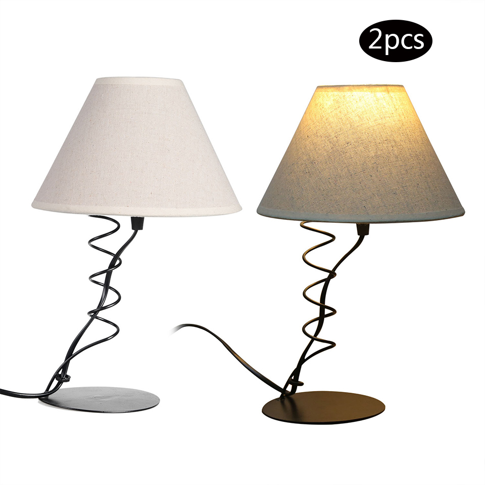 Schlafzimmer Lampe Stoff 2 #16: 2 PACK Led Lampe Beleuchtung Halter Tischlampe Eisen Basis Stoff  Lampenschirm Schlafzimmer Wohnzimmer Dekoration Lichter In 2 PACK Led-lampe  Beleuchtung ...