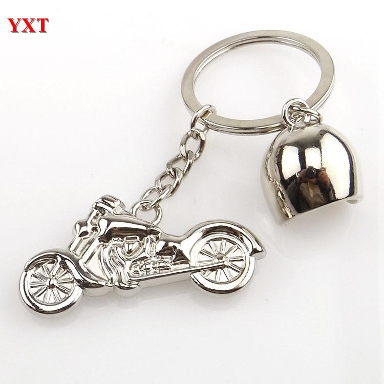 New Fashion 3D Mini Motorcycle Motorbike Helmet Cool Silver Metal Charm Car Key Ring Keychain Gift Top Selling