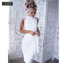 MUXU sexy white lace dress vestidos women clothing pencil bodycon 2018 fashionable dresses sundress ladies womens new