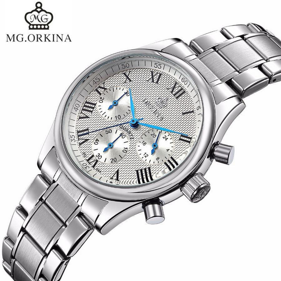 MG.Orkina New Fashion Horloges Mannen 6 Hands Man Dress Quartz Sport Mens Watch Mens Wirst Watches Gift Box Free Ship