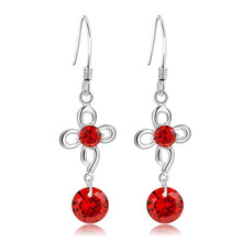 Everoyal New Arrival Female Crystal Red Clover Drop Earrings For Women Jewelry Fashion Lady 925 Sterling Silver Earring Girls цены
