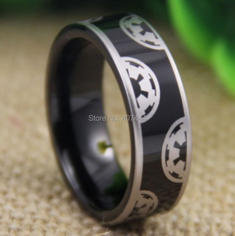 Free Shipping USA UK Canada Russia Brazil Hot Sales 8MM Black Pipe Star Wars Imperial Empire New Men's Tungsten Wedding Ring free shipping 2015 new hot saler star wars original english books