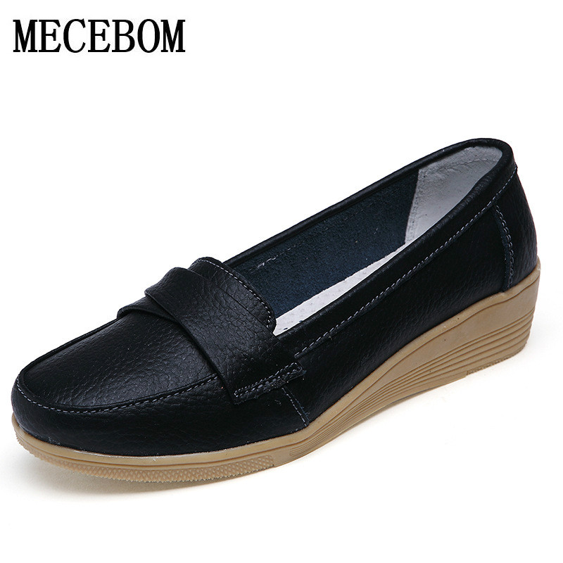 2018 Shoes Woman Leather Women Shoes Flats 3 Colors Loafers Slip On Womens Flat Shoes Moccasins Plus Size 8803W