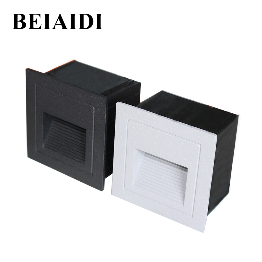 BEIAIDI 4pcs/Lot 3W Led Footlight Embedded Corner Lamp 86X86MM Outdoor Step Stair Lights Waterproof Recessed Underground Light