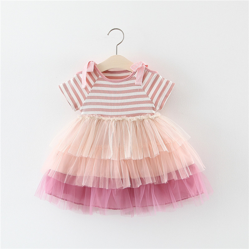 AMISSA Summer New Baby Girl Stripe Dress Off-The-Shoulder Cake Mesh Dress Birthday Party And Wedding Princess Dress 0-3 Year(China)