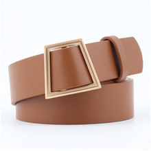 New 2018 Fashion leather wide strap Female belt without needle Unique Smooth buckle women Belt
