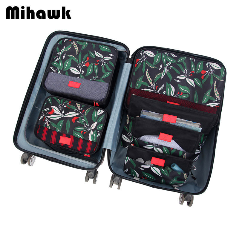 Mihawk 6Pcs/set Packing Cube Travel Bags Portable Large Capacity Clothing Sorting Organizer Luggage Accessories Supplies Product все цены