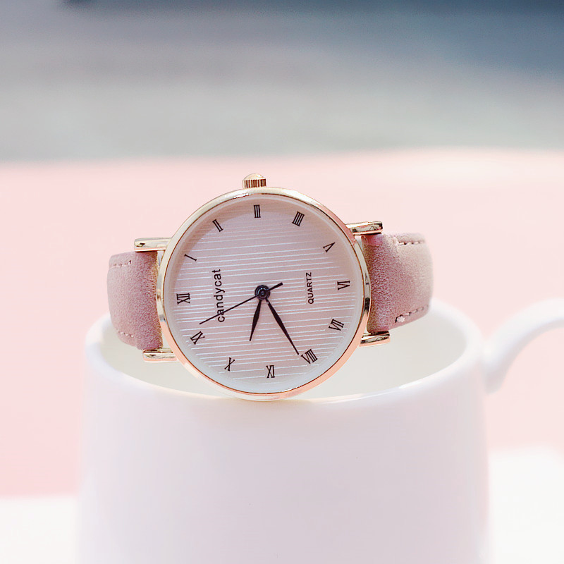 a92a36ff5f0f Exquisite dial leather women watches fashion casual student quartz college  style light retro Roman scale relogio