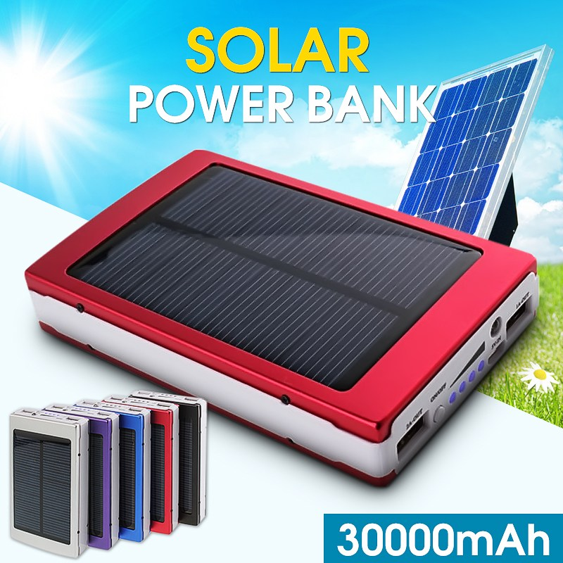 1x 30000mAh Dual USB Solar Panel Power Bank External Battery Charger for DC 5V Outdoor Protable Emergency Battery 4 5w 30000mah foldable dual usb solar panel power bank portable outdoor travel battery charger supply for phones
