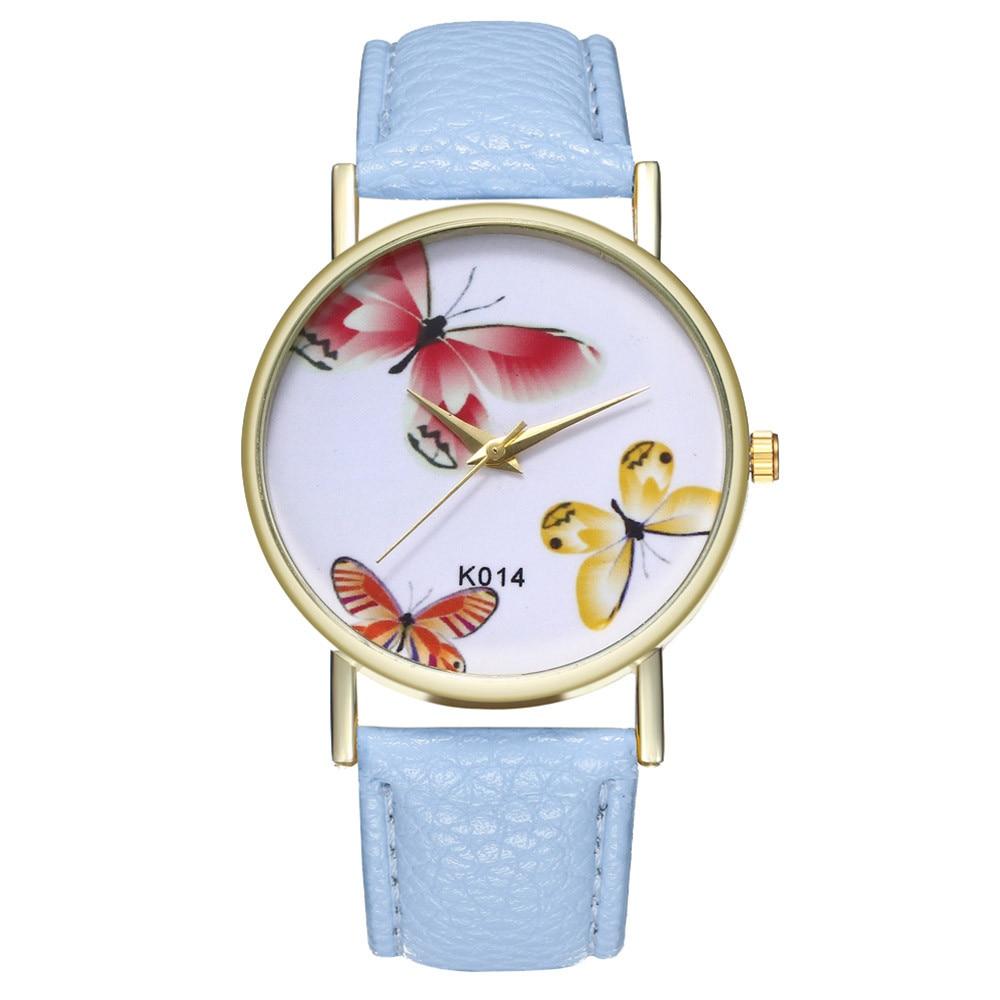 K014 Fashion Simple Women Watch Embossed Band Butterfly Ladies Watches Gold Dial Women Quartz Clock Relogio Feminino &Ff